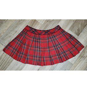 Lasenza Pleated Plaid/Tartan Red School Skirt